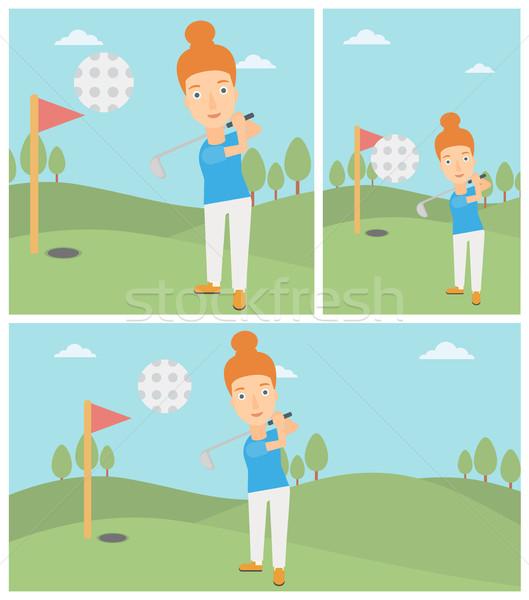 Golfer bal vrouwelijke professionele golfbaan jonge vrouw Stockfoto © RAStudio