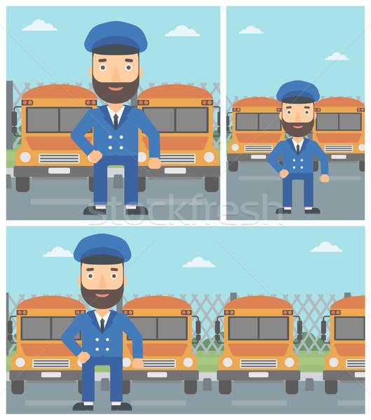 Stockfoto: Schoolbus · bestuurder · permanente · Geel · bus · vector