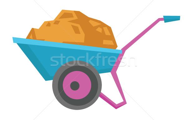 Wheelbarrow full of sand vector illustration. Stock photo © RAStudio