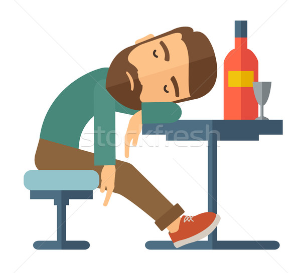 Drunk man fall asleep in the pub. Stock photo © RAStudio