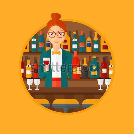 Barman pie bar contra botella vidrio Foto stock © RAStudio