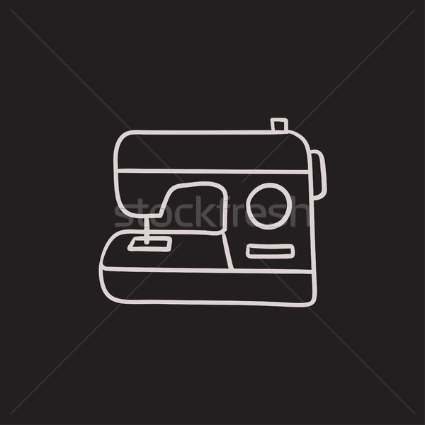 Stock photo: Sewing-machine sketch icon.