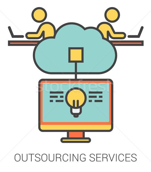 Аутсорсинг услугами линия иконки метафора Сток-фото © RAStudio
