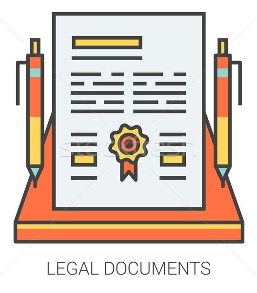 правовой документы линия иконки метафора Сток-фото © RAStudio