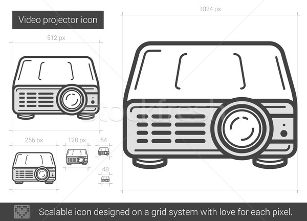 Video projector lijn icon vector geïsoleerd Stockfoto © RAStudio