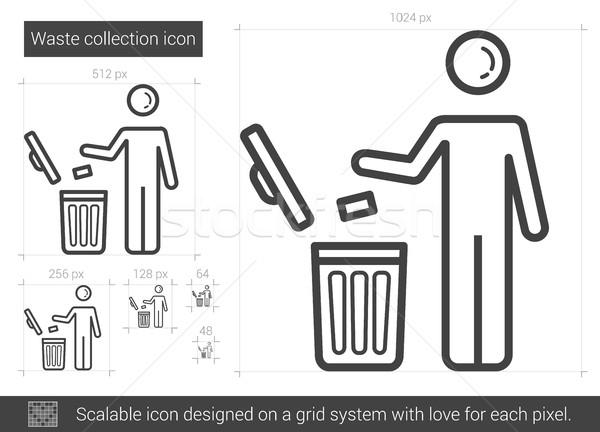 Imagine de stoc: Deşeuri · colectie · linie · icoană · vector · izolat