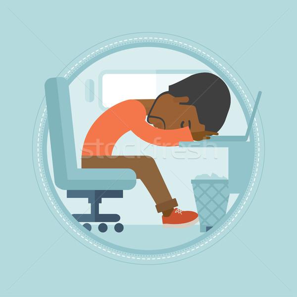 Overworked employee sleeping at workplace. Stock photo © RAStudio