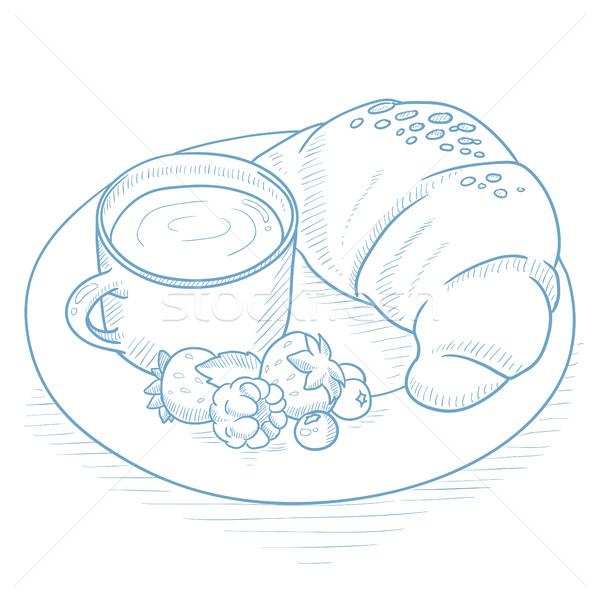 Reggeli kávé croissant bogyók csésze tányér Stock fotó © RAStudio