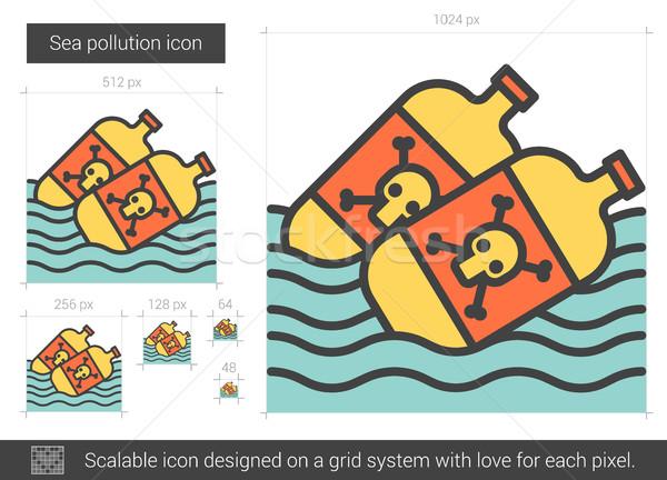 Zee verontreiniging lijn icon vector geïsoleerd Stockfoto © RAStudio
