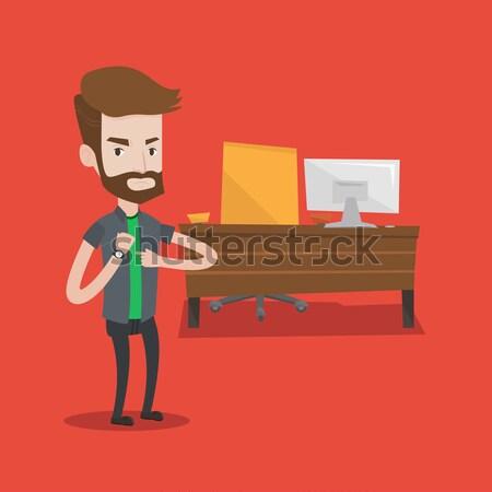 Boos werkgever wijzend tijd baas Stockfoto © RAStudio