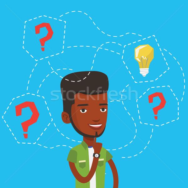 ストックフォト: 男 · ビジネス · アイデア · ビジネスマン · 立って · 疑問符