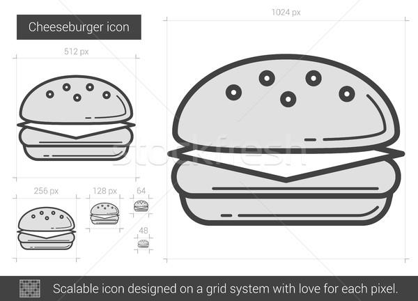 Hamburguesa con queso línea icono vector aislado blanco Foto stock © RAStudio