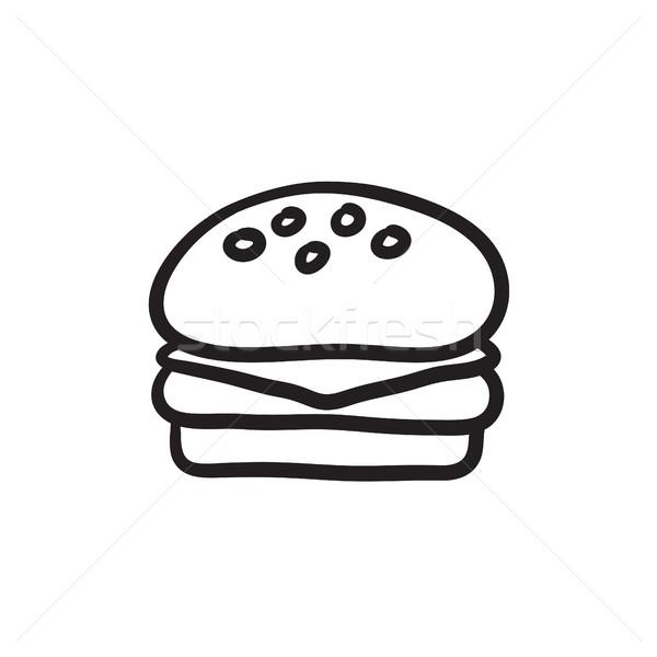 Hamburger sketch icona vettore isolato Foto d'archivio © RAStudio