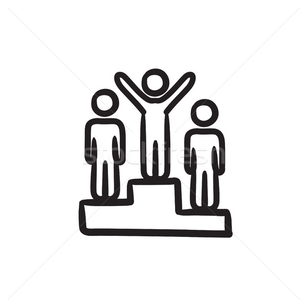 Winners on podium sketch icon. Stock photo © RAStudio