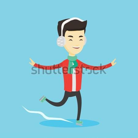 Man ice skating vector illustration. Stock photo © RAStudio