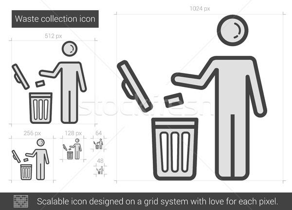 отходов коллекция линия икона вектора изолированный Сток-фото © RAStudio