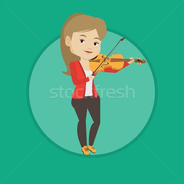 Nő játszik hegedű zenész derűs hegedűművész Stock fotó © RAStudio