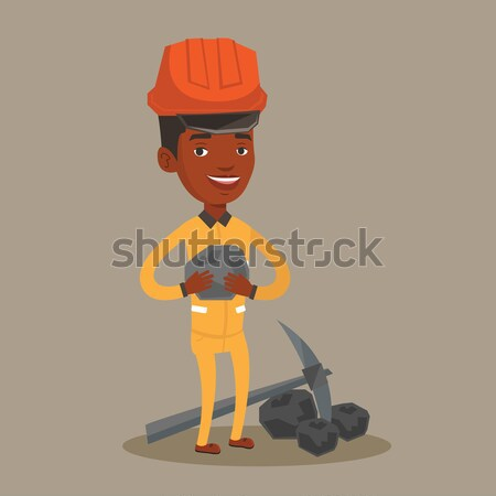 Stock photo: Miner holding coal in hands vector illustration.