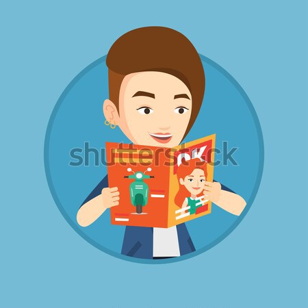 Man reading magazine vector illustration. Stock photo © RAStudio