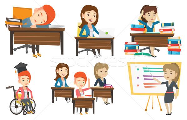 Vector set of student and teachers characters. Stock photo © RAStudio