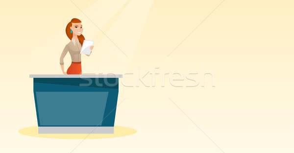 Television anchorwoman in the studio. Stock photo © RAStudio