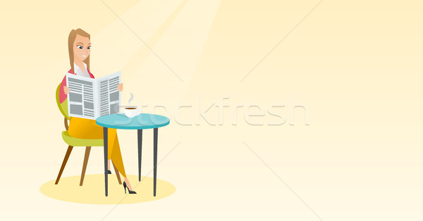 Stock photo: Woman reading a newspaper and drinking coffee.