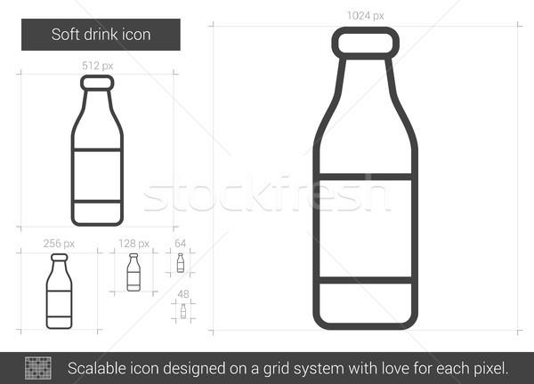 Frisdrank lijn icon vector geïsoleerd witte Stockfoto © RAStudio