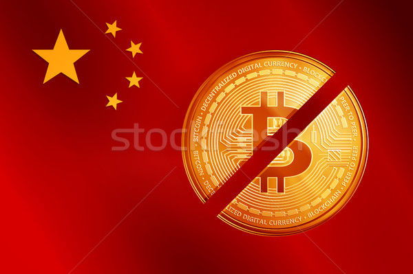 Crossed out golden bitcoin coin symbol on the China flag. Stock photo © RAStudio
