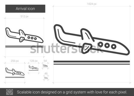 Aankomst lijn icon vector geïsoleerd witte Stockfoto © RAStudio