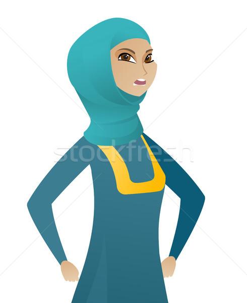Young muslim angry business woman screaming. Stock photo © RAStudio