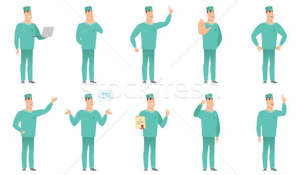 Vector set of surgeon characters. Stock photo © RAStudio