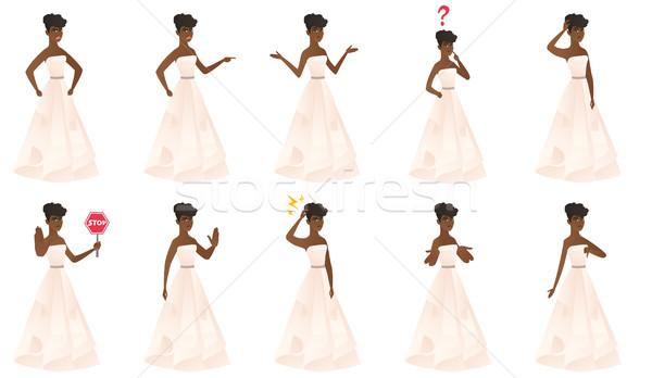 Vector ingesteld illustraties bruid karakter verward Stockfoto © RAStudio