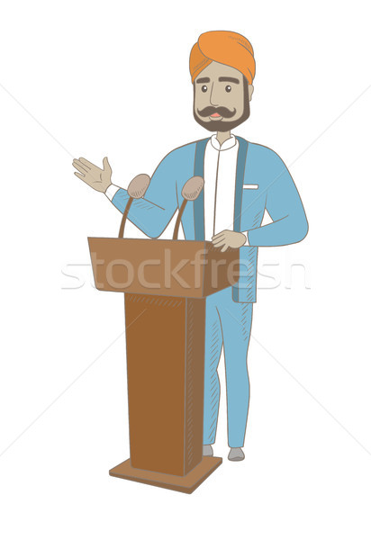 Hindu politician giving a speech from the tribune. Stock photo © RAStudio