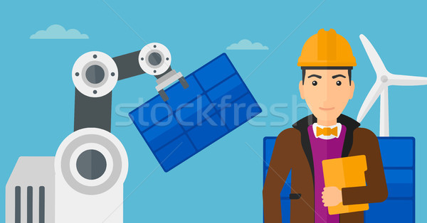 Robotic arm installing solar power pannel. Stock photo © RAStudio