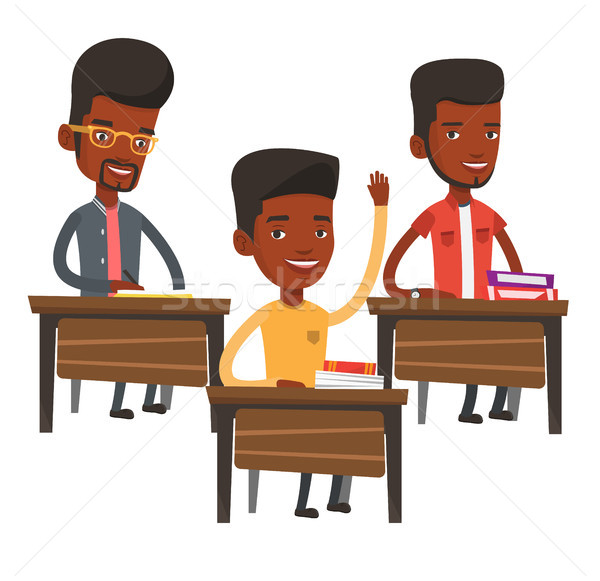 Student hand klasse klas vergadering Stockfoto © RAStudio