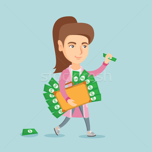Executive manager with briefcase full of money. Stock photo © RAStudio