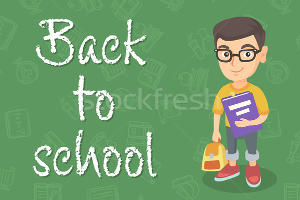 Caucasian pupil with backpack and textbook. Stock photo © RAStudio