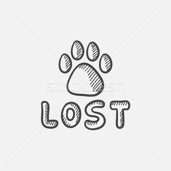 Сток-фото: потеряли · собака · знак · эскиз · икона · лапа