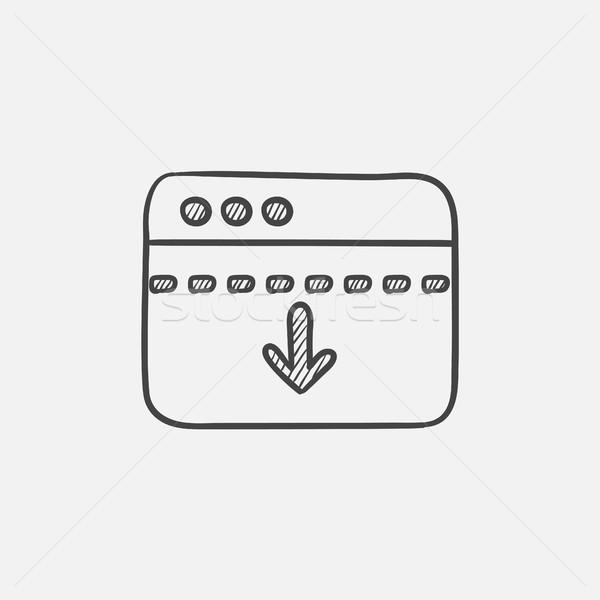 Browser venster pijl beneden schets icon Stockfoto © RAStudio