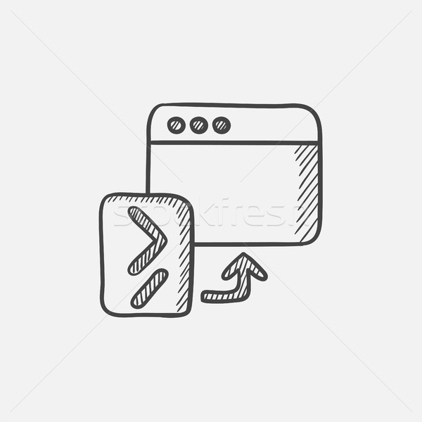 Browser window with terminal startup sketch icon. Stock photo © RAStudio