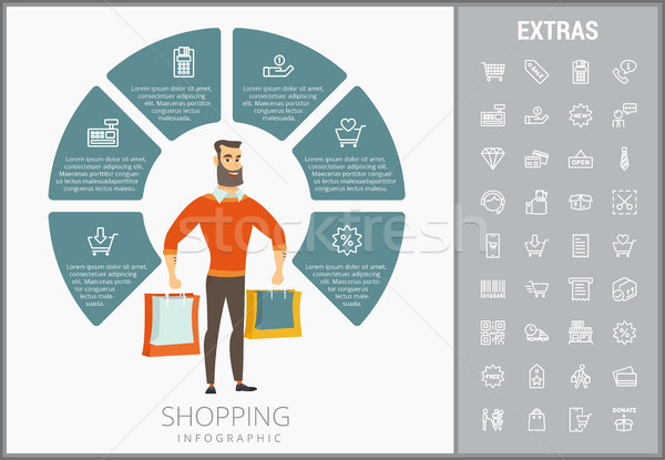 Stock photo: Shopping infographic template, elements and icons.