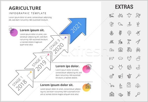 農業 インフォグラフィック テンプレート 要素 アイコン タイムライン ストックフォト © RAStudio