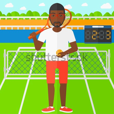 Férfi teniszező áll teniszpálya tart teniszütő Stock fotó © RAStudio