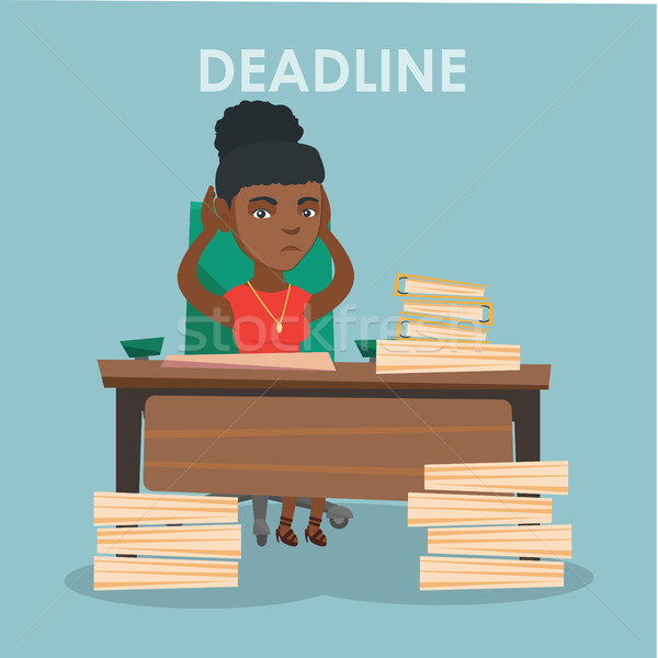 Stockfoto: Zakenvrouw · probleem · termijn · jonge · afrikaanse · stressvolle