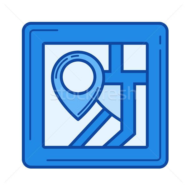 Stad kaart lijn icon vector geïsoleerd Stockfoto © RAStudio