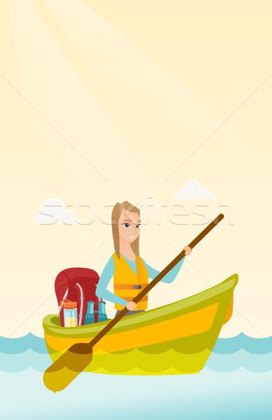 Foto stock: Jóvenes · caucásico · mujer · equitación · kayak · blanco