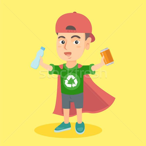 Boy superhero with aluminum tin and plastic bottle Stock photo © RAStudio
