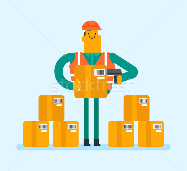 Caucasian warehouse worker scanning barcode on box Stock photo © RAStudio