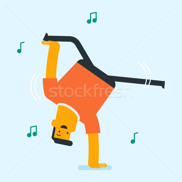 Young caucasian white man dancing. Stock photo © RAStudio