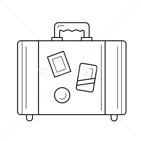 Reizen bagage lijn icon vintage koffer Stockfoto © RAStudio